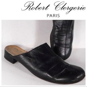 ROBERT CLERGERIE slip on black leather mule 9